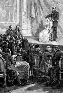 Artwork of a hypnotist inducing hypnosis in a woman on a stage in front of a watching audience. Hypnotism in the 19th century was developed by the Scottish surgeon James Braid (1795-1860). Moving away from the earlier occult work by the German physician Franz Mesmer, Braid wrote and published scientific and medical works on hypnotism. This early work by Braid and others, in Manchester, London and Paris, influenced later practitioners, especially in France.